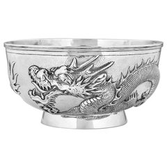 Antique Chinese Export 19th Century Solid Silver Dragon Bowl