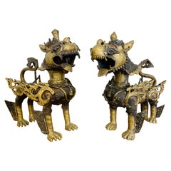 Antique Chinese Export Cast Brass Pair of Foo Dogs