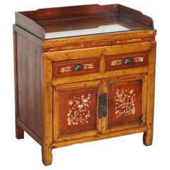 Antique Chinese Export circa 1900 Redwood Lacquered Inlaid Wash Stand Sideboard
