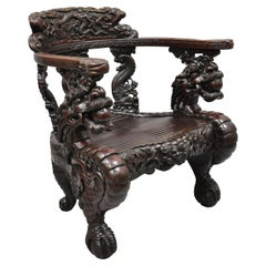 Antique Chinese Export Dragon Carved Hardwood Lounge Throne Lounge Arm Chair