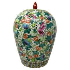 Antique Chinese Export Enameled Porcelain Ginger Jar Centerpiece Republic Period