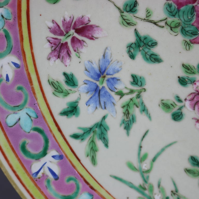 Hand-Painted Antique Chinese Export Hand Painted Porcelain Floral Charger, Early 20th Century For Sale