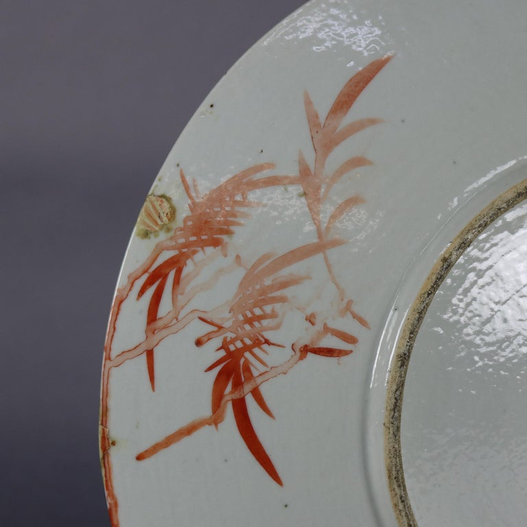 Antique Chinese Export Hand Painted Porcelain Floral Charger, Early 20th Century In Good Condition For Sale In Big Flats, NY