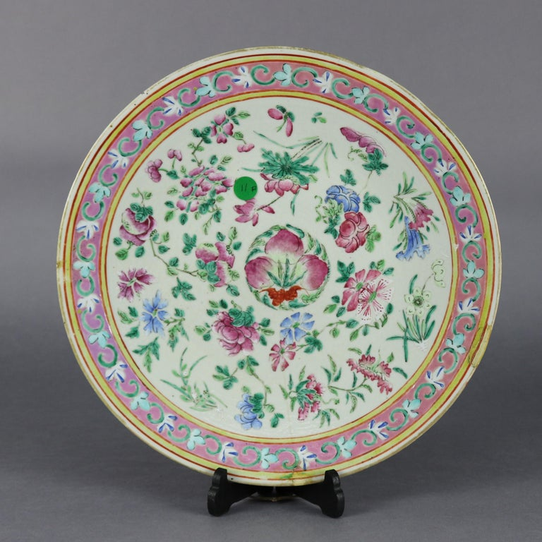 Ceramic Antique Chinese Export Hand Painted Porcelain Floral Charger, Early 20th Century For Sale