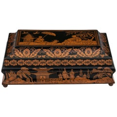 Antique Penwork Gaming Box, Early 19th Century