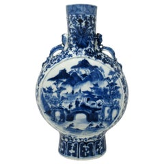 Antique Chinese Export Porcelain Hand Painted Blue White Moon Flask 19th Century