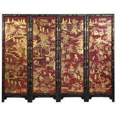 Antique Chinese Red Lacquer Screen, 19th Century Chinoiserie Style