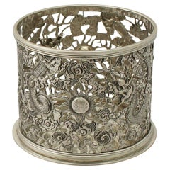 Antique Chinese Export Silver Bottle Coaster, circa 1900