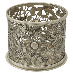 Antique Chinese Export Silver Bottle Coaster