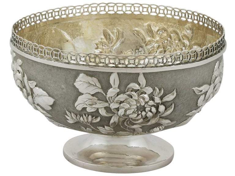 Antique Chinese Export Silver Bowl In Excellent Condition For Sale In Jesmond, Newcastle Upon Tyne
