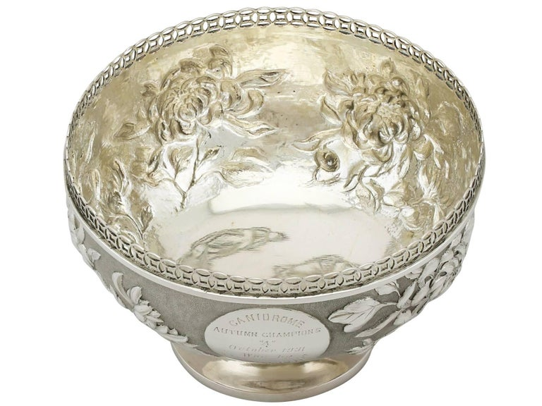 Early 20th Century Antique Chinese Export Silver Bowl For Sale