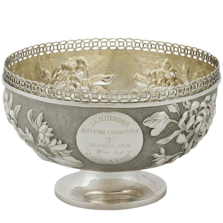 Antique Chinese Export Silver Bowl For Sale