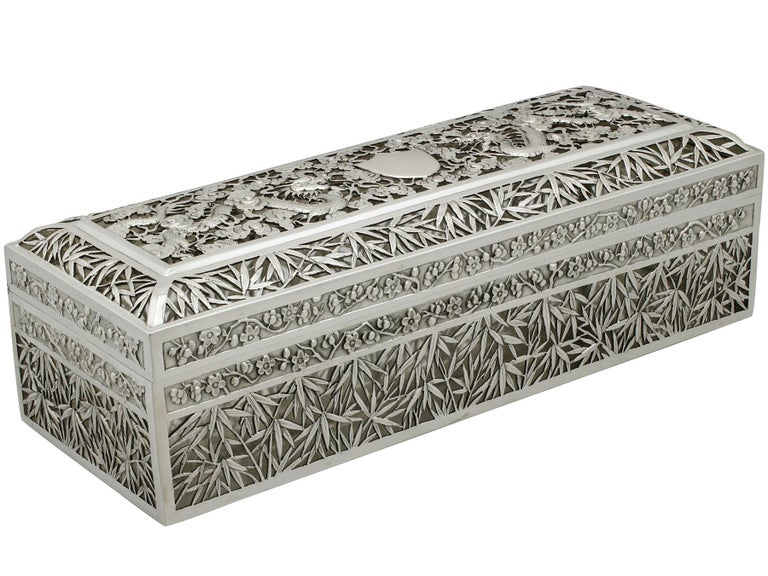 A magnificent, fine and impressive antique Chinese export silver box; an addition to our oriental silver boxes collection.