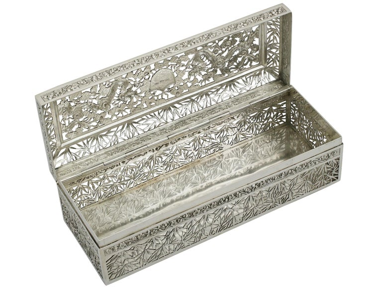 1890s Antique Chinese Export Silver Box by Wang Hing & Co For Sale 2