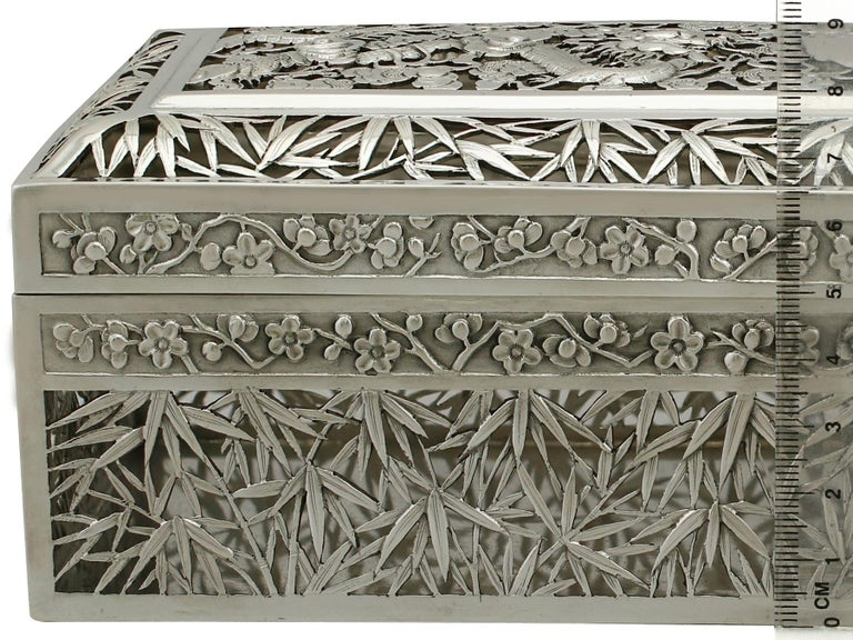 1890s Antique Chinese Export Silver Box by Wang Hing & Co For Sale 3