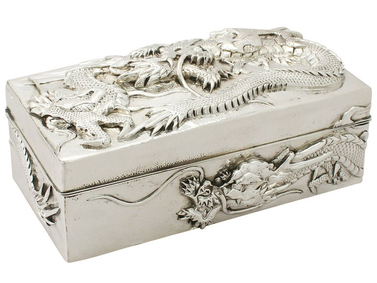 Antique Chinese Export Silver Box In Excellent Condition For Sale In Jesmond, Newcastle Upon Tyne