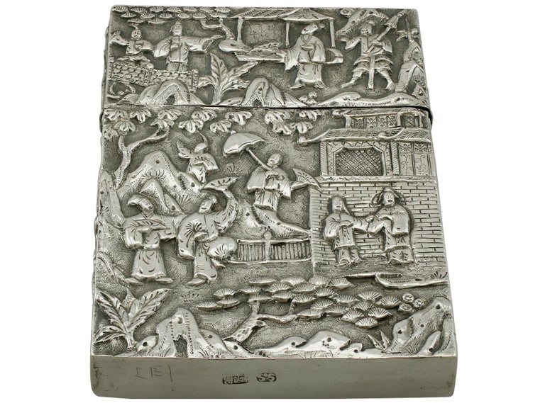Late 19th Century Antique Chinese Export Silver Card Case For Sale
