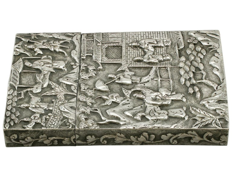 Antique Chinese Export Silver Card Case For Sale 1