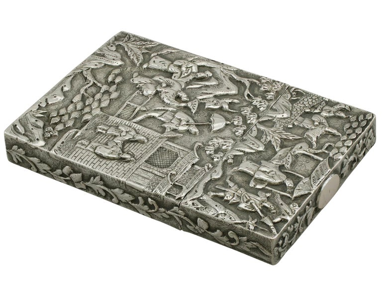 Antique Chinese Export Silver Card Case For Sale 2