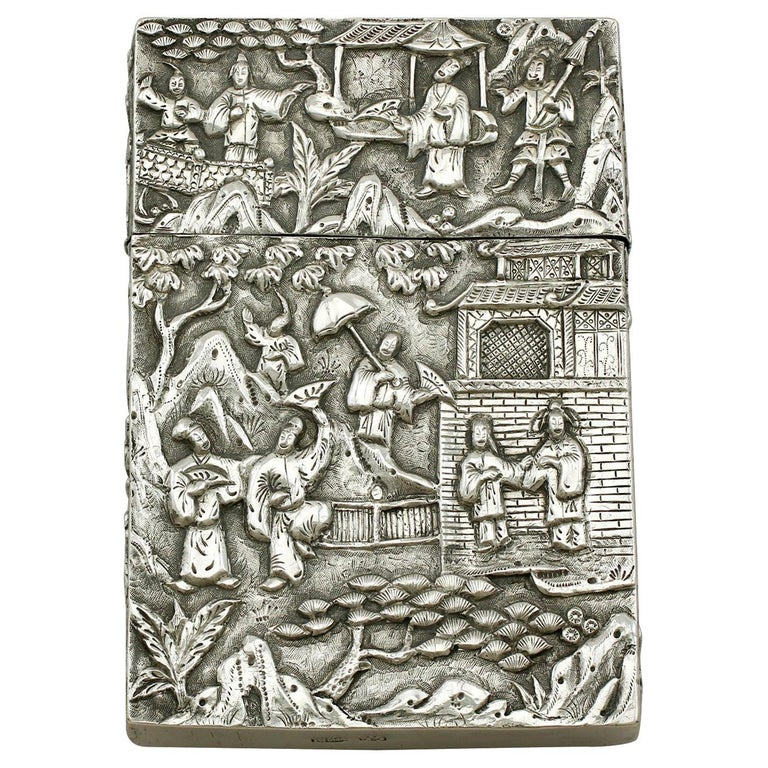 Antique Chinese Export Silver Card Case For Sale