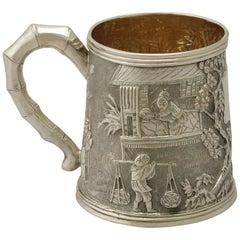 Antique Chinese Export Silver Christening Mug
