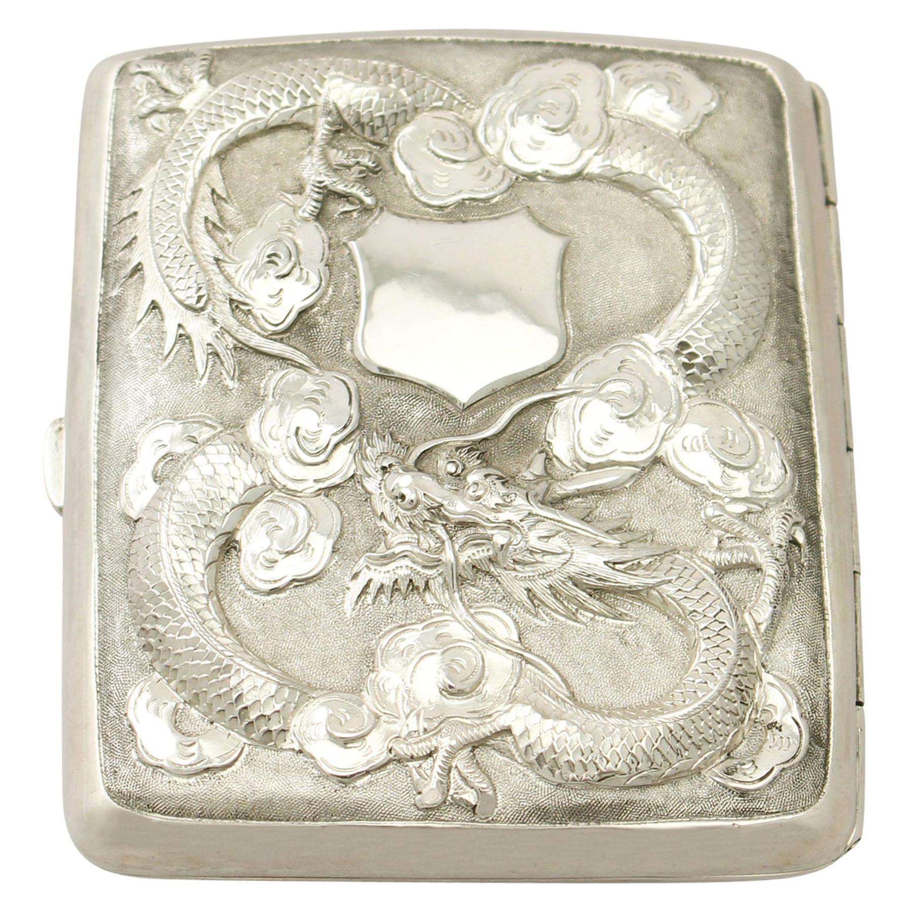 Antique Chinese Export Silver Cigarette Case, Circa 1900