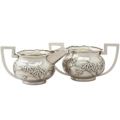 Antique Chinese Export Silver Cream Jug / Creamer and Sugar Bowl