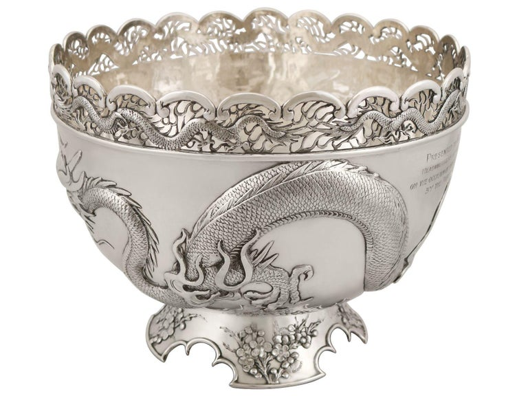 Early 20th Century Antique Chinese Export Silver Dragon Bowl Circa 1900