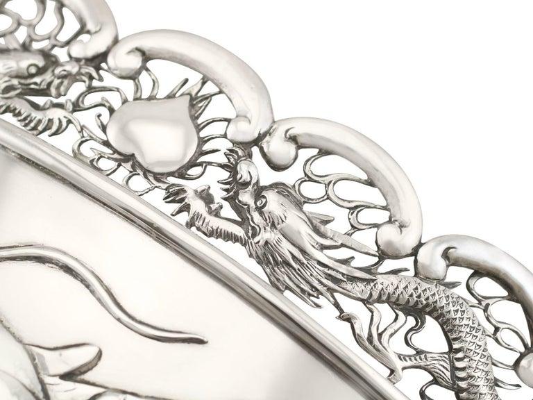 Antique Chinese Export Silver Dragon Bowl Circa 1900 3