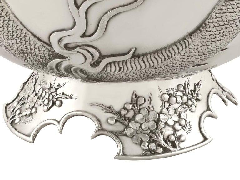 Antique Chinese Export Silver Dragon Bowl Circa 1900 4
