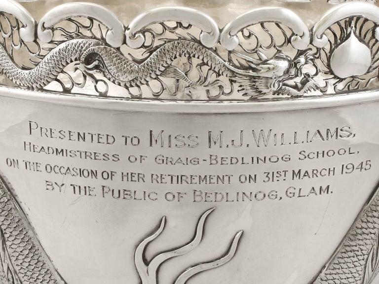 Antique Chinese Export Silver Dragon Bowl Circa 1900 5