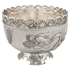 Antique Chinese Export Silver Dragon Bowl Circa 1900