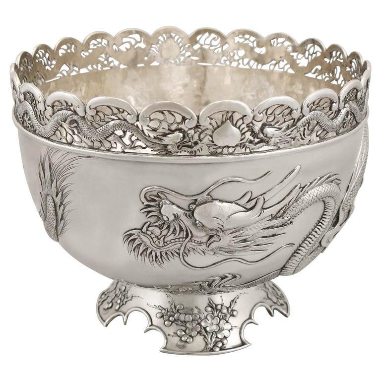 Antique Chinese Export Silver Dragon Bowl Circa 1900