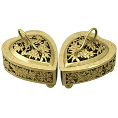 Antique Chinese Export Silver Gilt Potpourri Boxes
