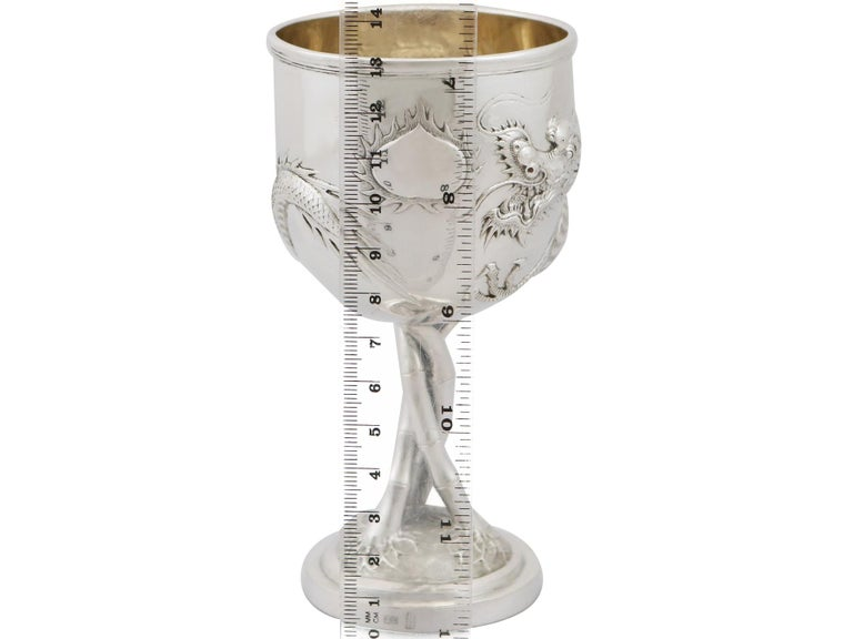 Antique Chinese Export Silver Goblet, circa 1900 For Sale 8