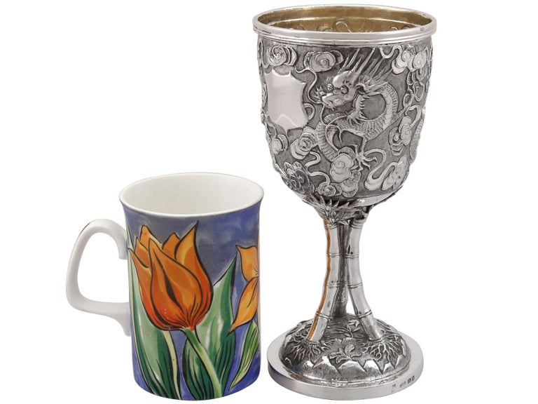 Antique Chinese Export Silver Goblet, Circa 1900 In Excellent Condition For Sale In Jesmond, Newcastle Upon Tyne