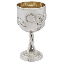 Antique Chinese Export Silver Goblet, circa 1900