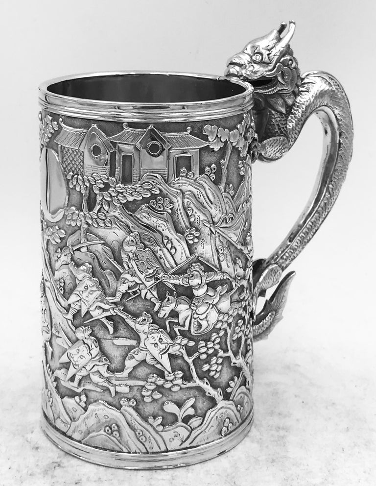 Antique Chinese Export Silver Mug In Good Condition For Sale In London, GB