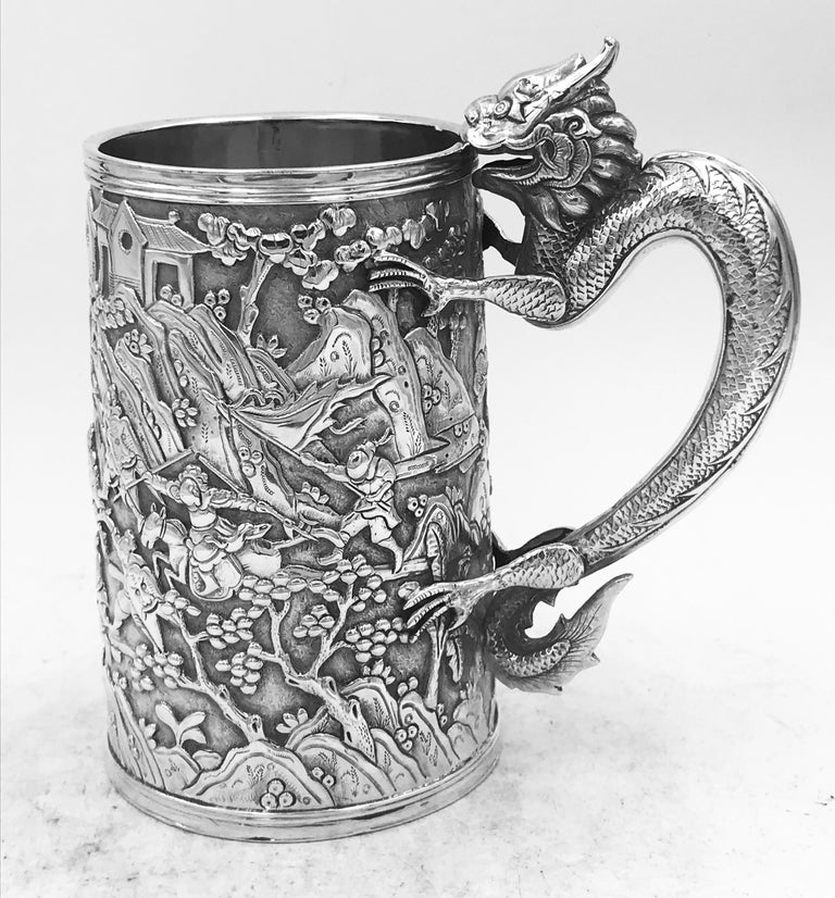 Late 19th Century Antique Chinese Export Silver Mug For Sale