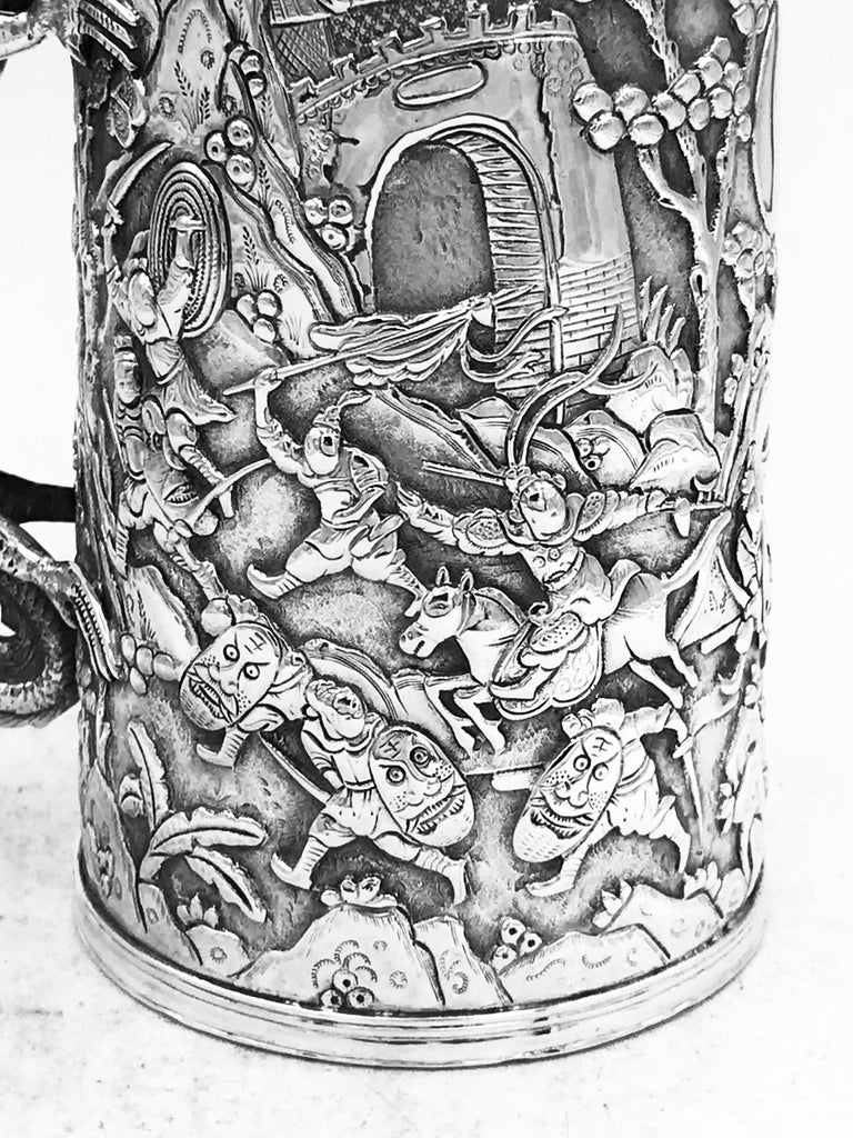 Sterling Silver Antique Chinese Export Silver Mug For Sale