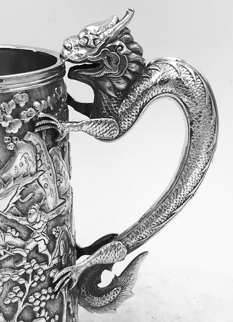 Antique Chinese Export Silver Mug For Sale 1
