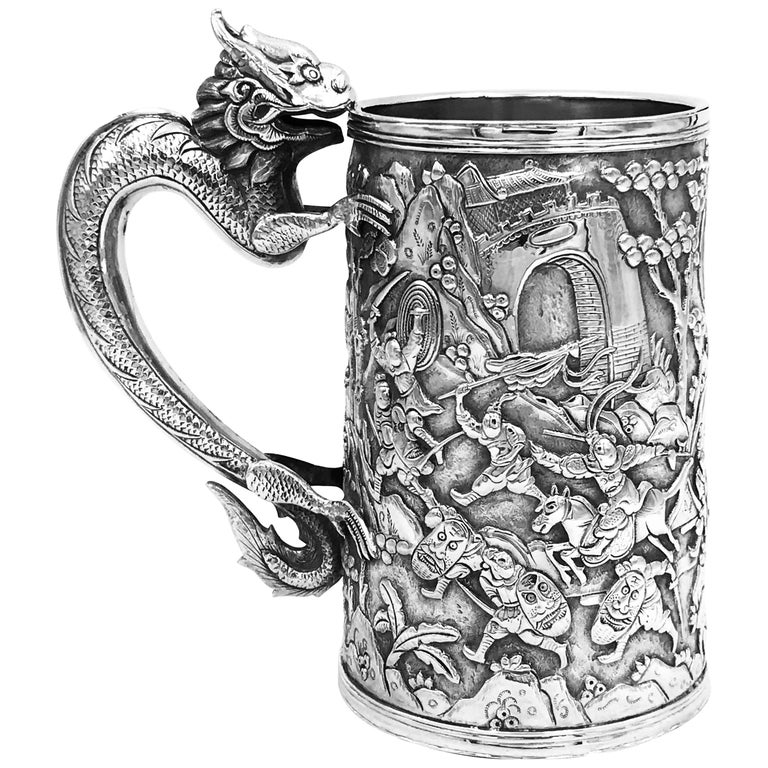 Antique Chinese Export Silver Mug For Sale
