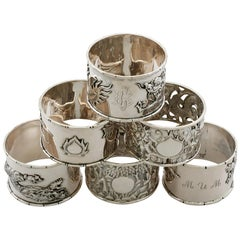 Antique Chinese Export Silver Napkin Rings