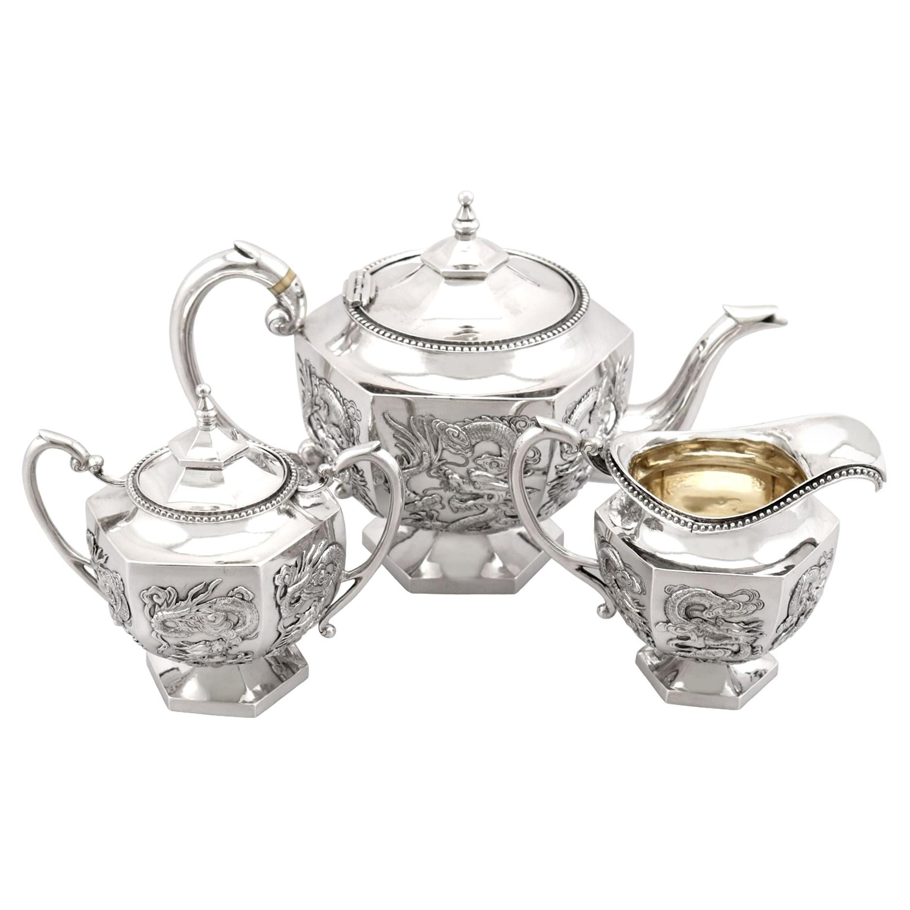 Antique Chinese Export Silver Three Piece Tea Service