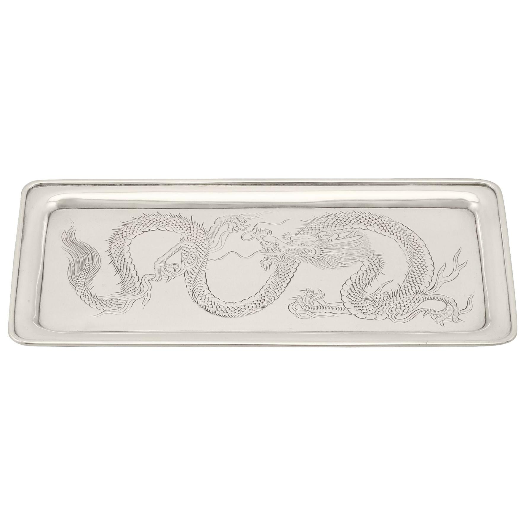 Antique Chinese Export Silver Tray, circa 1890
