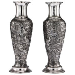 Antique Chinese Export Solid Silver Pair of Vases, Tuck Chang, circa 1880