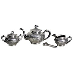 Antique Chinese Export Sterling Silver Tea Set with Dragon & Bamboo Decoration
