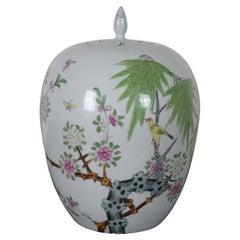 Antique Chinese Famille Rose Porcelain Lidded Ginger Jar Floral Bird Urn