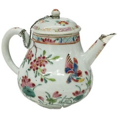 Antique Chinese Famille Rose Teapot with Cover