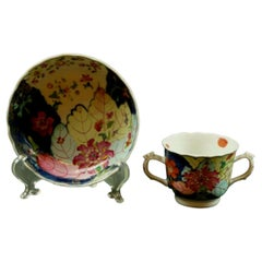 Antique Chinese Famille Rose Tobacco Leaf Double Handled Cup & Saucer Porcelain